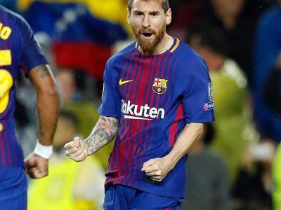 Messi v Olympiacos, celebration, 100 goals, Barcelona, free-kick