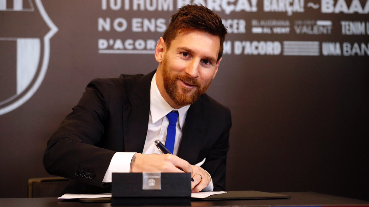 Leo Messi puts pen to paper on new Barcelona deal